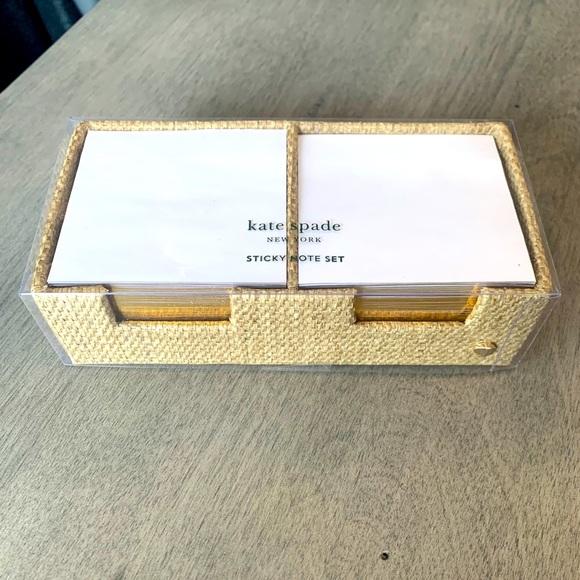 New Kate Spade Grasscloth Sticky Note Set & Tray.